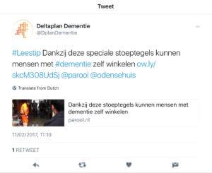 tweet boodschappenroute door deltaplan dementie